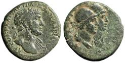 """Ancient Coins - Hadrian AE24 of Tripolis in Phoenicia """"Jugate Dioscuri Busts"""" Good Fine"""