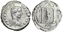 "Ancient Coins - Geta AR Denarius ""Asklepios in Temple, Two Serpents"" Unpublished Extremely Rare"