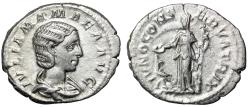 "Ancient Coins - Julia Mamaea AR Denarius ""Juno, Peackcock at Feet"" Rome 222 AD RIC 343 gVF"