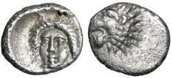 """Ancient Coins - Satraps of Caria: Hekatomnos AR Tetartemorion """"Apollo Facing & Lion"""" nEF"""