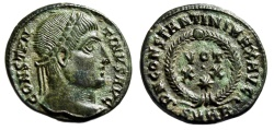 """Ancient Coins - Constantine I The Great """"VOT XX and Star in Wreath"""" Heraclea 324 AD RIC 60 EF"""