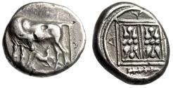 """Ancient Coins - Illyria, Dyrrhachium AR Stater """"Cow Suckling Calf & Double Stellate, Club"""" VF"""