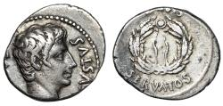 "Ancient Coins - Augustus AR Denarius ""OB CIVIS SERVATOS Wreath"" Spain RIC 40a Good VF"