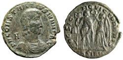 """Ancient Coins - Constantius Gallus AE Centenionalis """"HOC SIGNO VICTOR ERIS Crowned"""" Sirmium Rare"""