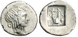 "Ancient Coins - Lycian League, Masikytes AR Hemidrachm ""Apollo & Kithara, Tripod Control"" gF"