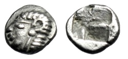 "Ancient Coins - Ionia, Kolophon AR 1/24th Stater ""Archaic Apollo & Incuse Punch"" 530-500 BC EF"
