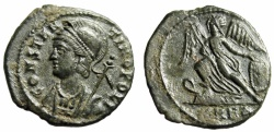 "Ancient Coins - Constantinople City Commemorative AE3 ""Victory on Prow"" Heraclea RIC 115 VF"