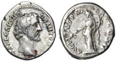 """Ancient Coins - Antoninus Pius AR Denarius """"Bare Headed Portrait & Pax"""" 139 AD Good Fine"""