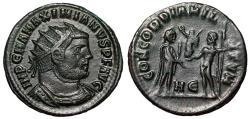 """Ancient Coins - Maximianus Herculius AE Radaite """"CONCORDIA MILITVM Jupiter, Victory"""" Heraclea VF"""