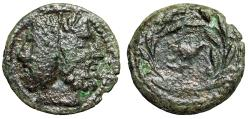 "Ancient Coins - Sicily, Uncertain Roman Mint ""Janus Head & Dove in Wreath"" 200-190 BC Rare"
