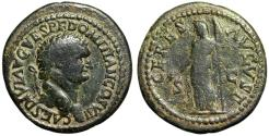 "Ancient Coins - Domitian as Caesar AE As ""CERES AVGVSTI Ceres, Torch"" 80-81 AD RIC 512 Fine"