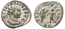 "Ancient Coins - Tacitus Silvered Antoninianus ""RESTITVTOR ORBIS Victory"" Lyons RIC 55 aEF"
