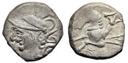 """Ancient Coins - Celtic Gaul, Allobroges AR Drachm AR Drachm """"Helmeted Mars & Hippocamp"""" gVF"""