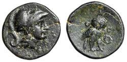 "Ancient Coins - Attica, Athens AE 16 ""Helmeted Athena & Owl Facing, Wreath"" Very Rare Good VF"