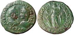 "Ancient Coins - Caracalla & Geta AE Pentassarion of Markianopolis ""Dual Portrait & Fortuna"""