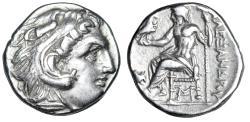 "Ancient Coins - King of Macedonia: Antigonos I Monophthalmos AR Drachm ""Mouse"" Rare Monogram gVF"