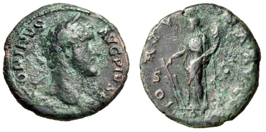 """Ancient Coins - Antoninus Pius AE As """"Fortuna, Cornucopiae & Rudder"""" Rome 139 AD RIC 558 Scarce"""