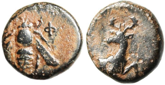 "Ancient Coins - Ionia, Ephesos (Ephesus) AE11 ""Bee & Stag"" 390-320 BC"