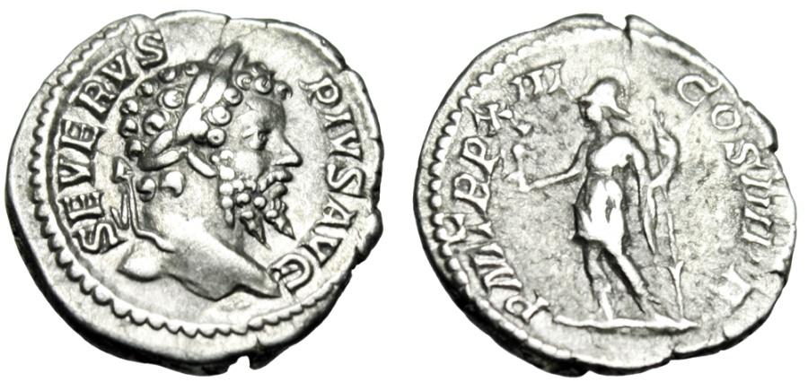 "Ancient Coins - Septimius Severus Silver Denarius Roma With Victory"" Rome 205 AD RIC 197 VF"
