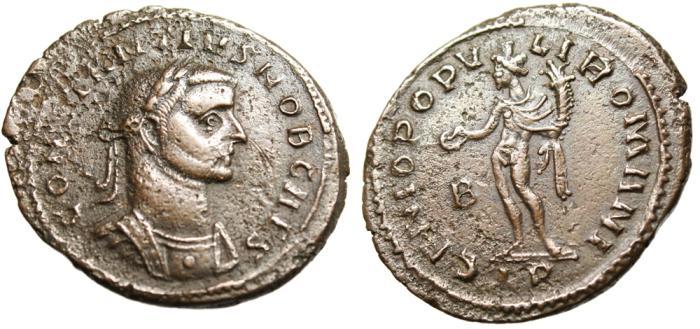"""Ancient Coins - Constantius I Chlorus as Caesar AE Follis """"Genius"""" Trier RIC 358 Scarce"""