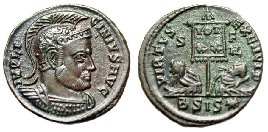 "Ancient Coins - Licinius I ""VIRTVS EXERCITI Standard, Captives"" Siscia RIC 121 2nd Off R5 Rare"