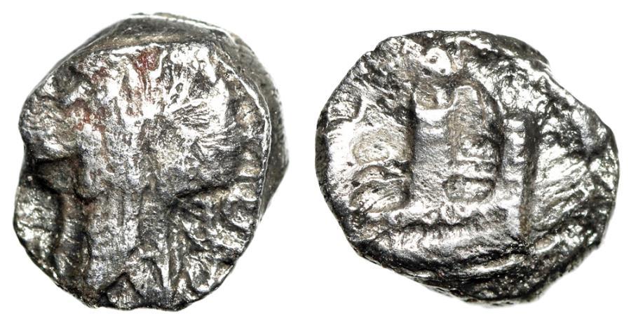 "Ancient Coins - Phoenicia, Sidon 1/16 AR Shekel ""Three Tower City Wall & Archer King"" Scarce"