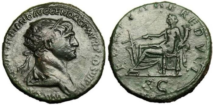 "Ancient Coins - Trajan, AE Dupondius ""Fortuna Seated"" VF RIC 628"