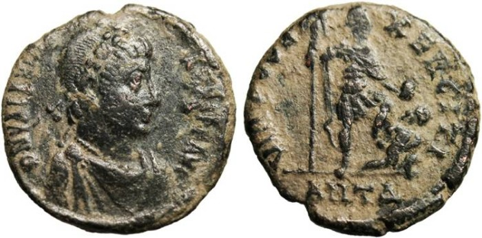 "Ancient Coins - Valentinian I, AE2 ""VIRTVS EXERCITI"" Antioch RIC 63b VF"