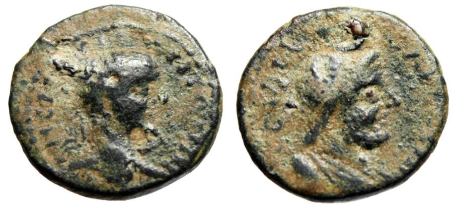 "Ancient Coins - Elagabalus AE20 ""Bust of Serapis"" Judea Aelia Capitolina (Jerusalem) Rare"