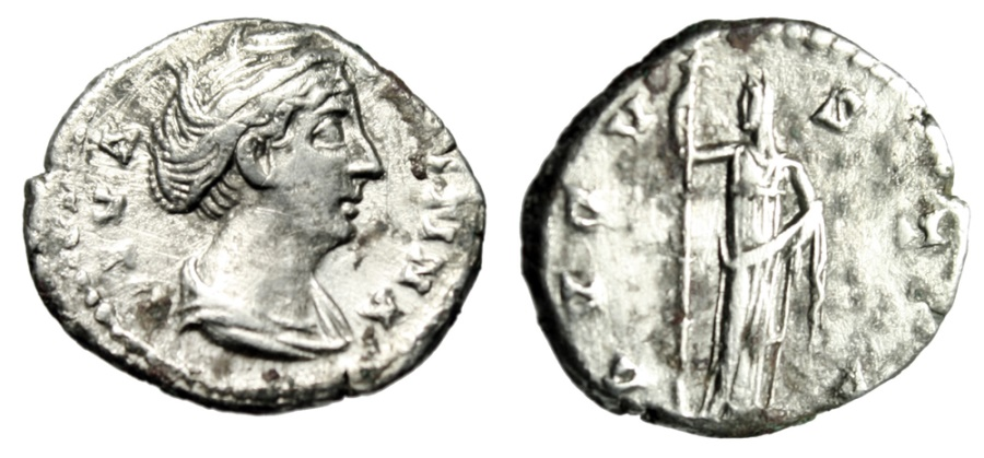 "Ancient Coins - Diva Faustina I Senior Posthumous AR Denarius ""Ceres With Long Torch"" RIC 362"