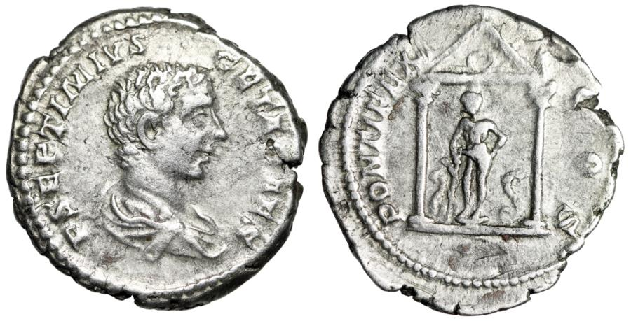 """Ancient Coins - Geta AR Denarius """"Asklepios in Temple, Two Serpents"""" Unpublished Extremely Rare"""