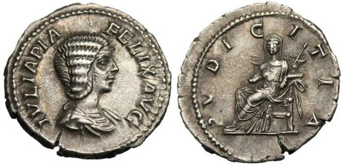 "Ancient Coins - Julia Domna, AR Denarius ""Pudicitia Seated Facing"" EF RIC 575"
