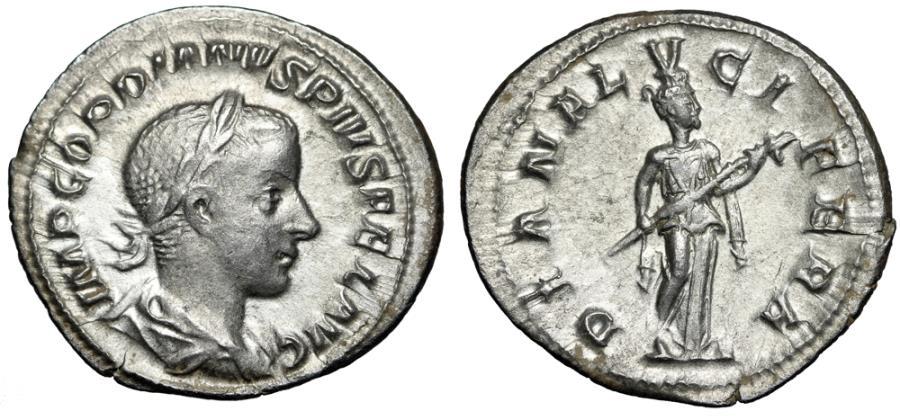 "Ancient Coins - Gordian III AR Denarius ""DIANA LVCIFERA Diana Holding Torch"" VF"