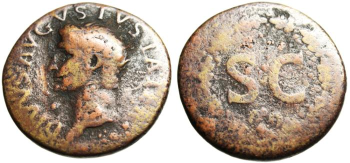"Ancient Coins - Divvs Augustus AE Dupondius ""SC Within Oak Wreath"" Rome RIC 79 Scarce"