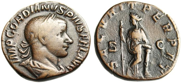 """Ancient Coins - Gordian III AE Sestertius """"SECVRIT PERPET Securitas Leaning on Column"""" RIC 335a"""