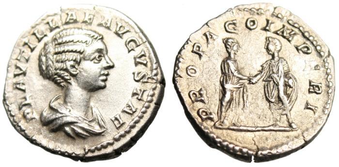 "Ancient Coins - Plautilla Silver AR Denarius ""PROPAGO IMERPI Clasping Hands"" RIC 362 Near MS"