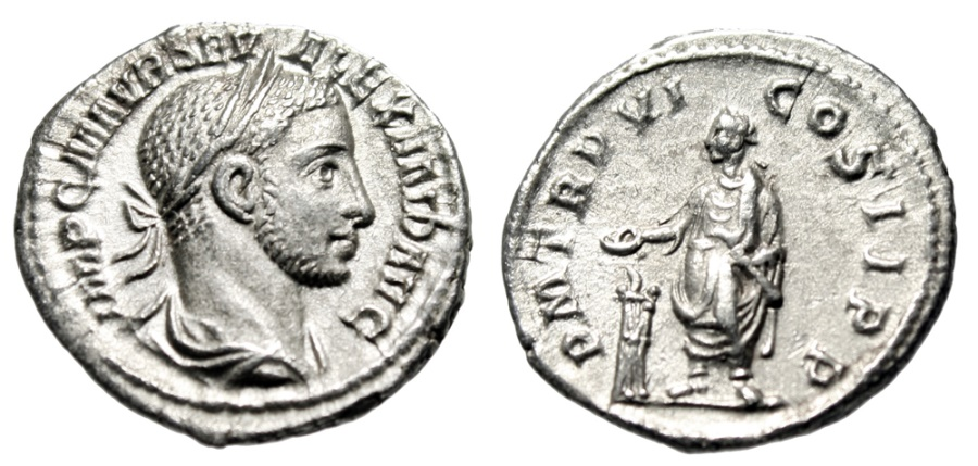Severus Alexander Silver Denarius Emperor at Altar Rome RIC 70 Scarce gVF