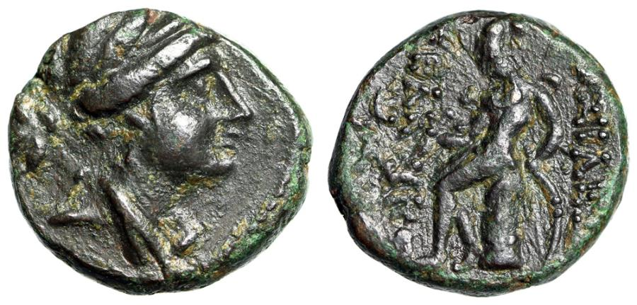 "Ancient Coins - Seleucid Kingdom Seleukos III Soter (Keraunos) AE15 ""Artemis, Apollo Seated"" gVF"