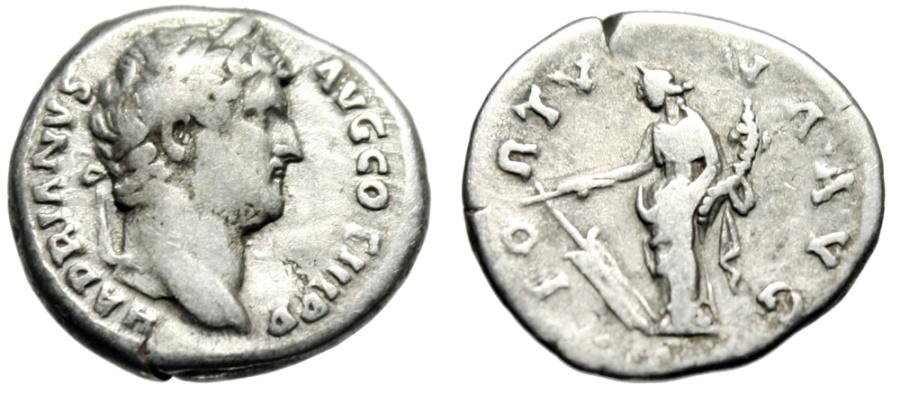"""Ancient Coins - Hadrian Silver Denarius """"FORTVNA AVG Fortuna"""" Rome 134-138 AD RIC 244a gF"""