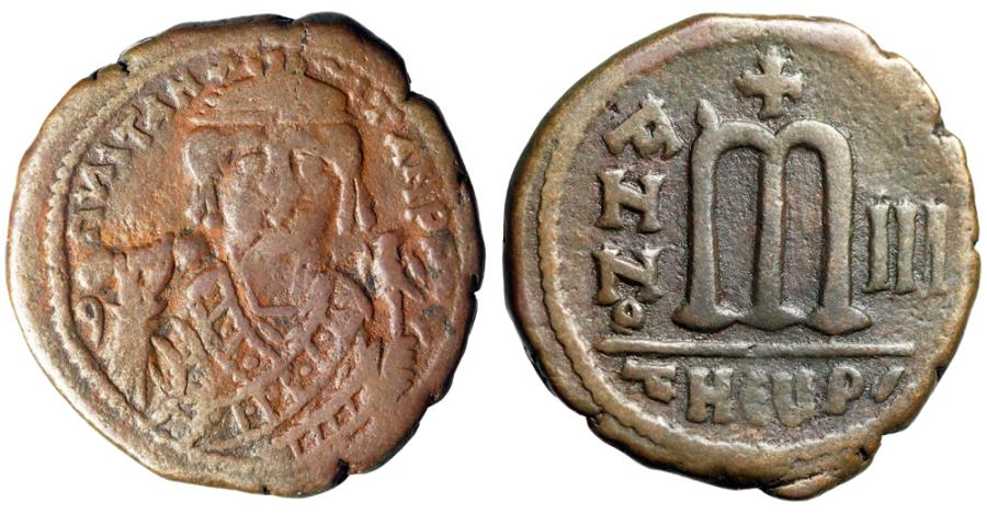 """Ancient Coins - Maurice Tiberius AE Follis """"Crowned Bust Facing"""" Theoupolis (Antioch) Year 3"""