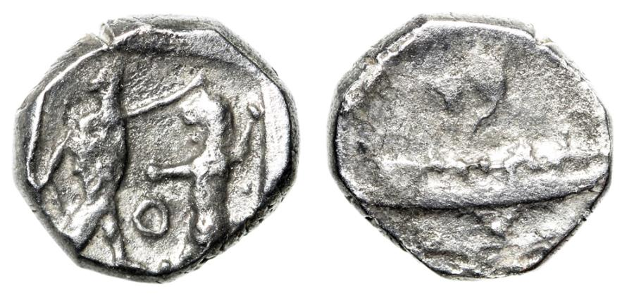 """Ancient Coins - Phoenicia, Sidon AR 1/16 Shekel """"Galley & King Fighting Lion O"""" VF"""