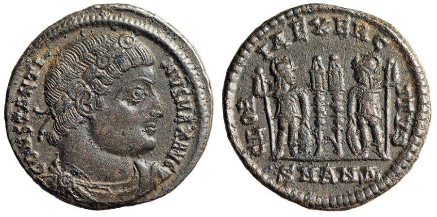 "Ancient Coins - Constantine I The Great AE18 ""GLORIA EXERCITVS Soldiers"" Antioch RIC 86"