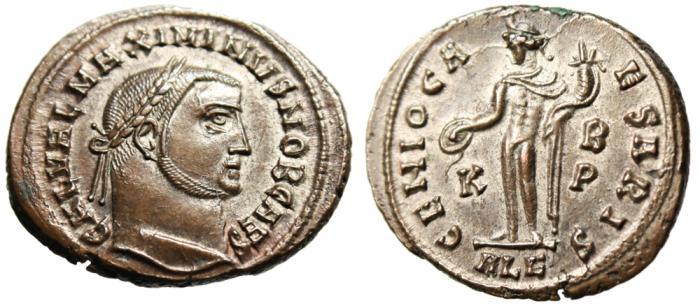"""Ancient Coins - Galerius Silvered Follis """"GENIO IMPERATORIS Genius"""" Alexandria RIC 105a EF"""