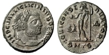 "Ancient Coins - Licinius I Silvered Follis ""Jupiter, Wreath"" Thessalonica RIC 49 Choice EF"