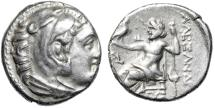 """Ancient Coins - Alexander III The Great AR Drachm """"Herakles & Zeus Seated"""" 336-323 BC VF"""