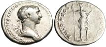 "Ancient Coins - Trajan Silver Denarius ""Virtus, Foot on Helmet With Parazonium"" RIC 354"