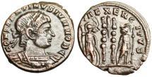 "Ancient Coins - Constantine II as Caesar AE3 ""GLORIA EXERCITVS Roman Soldiers"" Trier Scarce"