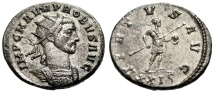 "Ancient Coins - Probus Silvered Antoninianus ""VIRTVS AVG Spear & Globe"" Siscia RIC 801 Choice EF"