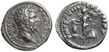 "Ancient Coins - Septimius Severus AR Denarius ""Victory Flying Wreath, Shield"" 200 AD VF Toned"