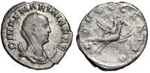 """Ancient Coins - Mariniana (Wife of Valerian I) AR Antoninianus """"Riding Flying Peacock"""" Rare gF"""